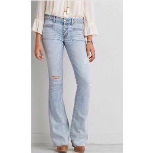 AE Braided Waist Artist Flare Jeans Button Fly 6